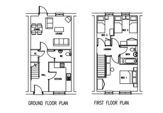 Three bedroom indicative floor plan