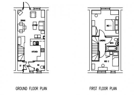 Two bedroom indicative floor plan